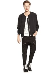 Perdre Haleine Raw Cut Fluid Nylon Crepe Bomber Jacket Black