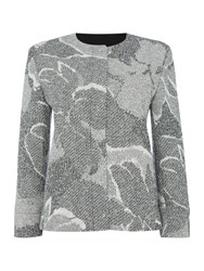 Hugo Boss Longsleeve Floral Print Knitted Jacket Grey