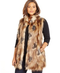 Inc International Concepts Plus Size Faux Fur Sweater Back Long Vest Only At Macy's Natural Grey