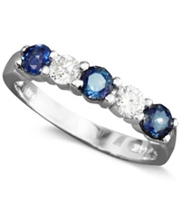Effy Collection Effy Sapphire 7 8 Ct. T.W. And Diamond 1 4 Ct. T.W Band In 14K White Gold Blue