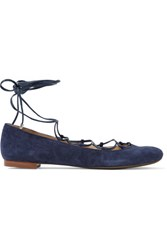 Schutz Lace Up Suede Ballet Flats Navy