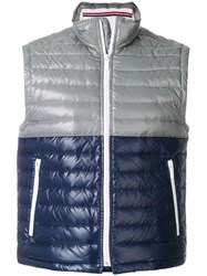 Thom Browne Down Filled Bicolor Tech Vest In Satin Finish Grey