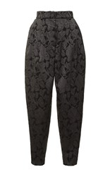 Dolce And Gabbana High Waist Pleated Brocade Pant Black