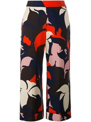 Delpozo Floral Print Cropped Trousers Blue