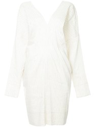 Bassike Striped V Neck Shirt Dress White
