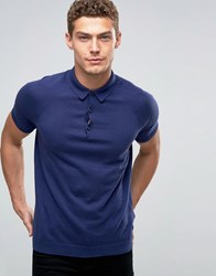 United Colors Of Benetton Cashmere Blend Short Sleeve Knitted Polo Navy 38V
