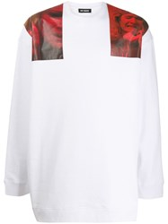 Raf Simons Shoulder Patch Graphic Sweatshirt White