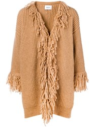 Dondup Fringed Cardi Coat Nude And Neutrals