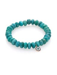 Sydney Evan Amazonite Blue Sapphire Enamel And 14K Yellow Gold Beaded Evil Eye Bracelet Turquoise