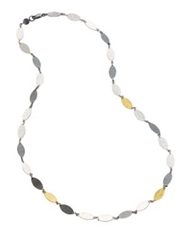 Gurhan Willow 24K Yellow Gold And Sterling Silver Leaf Flake Necklace Silver Multi