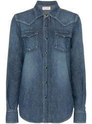 Saint Laurent Popper Button Envelope Pocket Denim Shirt Blue