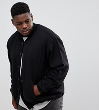 Jacamo Plus Jersey Bomber Jacket Black