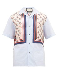 Gucci Lion And Gg Print Cotton And Silk Panel Shirt Blue Multi