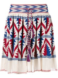Laneus Knitted Aztec Design Skirt Nude Neutrals