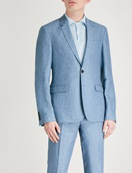 Sandro Slim Fit Linen Suit Jacket Blue