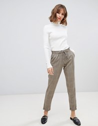 Esprit Drawstring Check Trousers In Taupe Brown