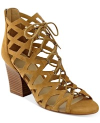 Marc Fisher Blair Lace Up Dress Sandals Women's Shoes Brown Suede