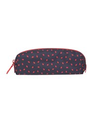 Lulu Guinness Lip Print Brush Case Navy