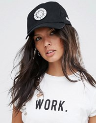 Asos Baseball Cap With Woven Front Badge Black