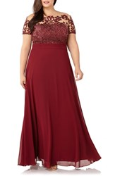 Js Collections Plus Size Floral Embroidered Chiffon Gown Cabernet