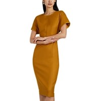 Narciso Rodriguez Wool Fitted Midi Dress Gold