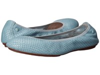 Hush Puppies Chaste Ballet Slate Blue Embossed Leather Women's Flat Shoes