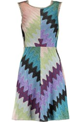 Missoni Metallic Crochet Knit Mini Dress Blue