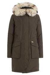 Woolrich Military Down Parka With Fur Trimmed Hood Green