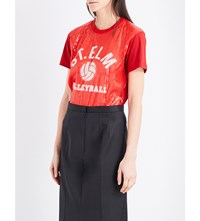 Junya Watanabe Sequin Embellished Jersey T Shirt Red X White