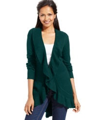 Style And Co. Long Sleeve Ruffle Trim Cardigan