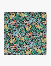 The Hill Side Pocket Square Toucans And Bananas Print Black