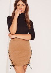 Missguided Nude Ribbed Lace Up Side Mini Skirt Tan