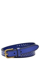 Women's Fossil Perforated Leather Belt Sapphire