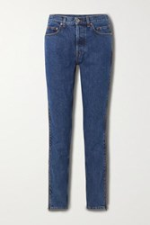 Vetements Zip Embellished Mid Rise Straight Leg Jeans Blue