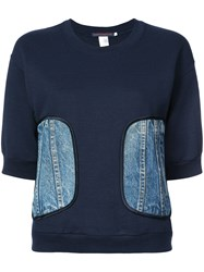 Harvey Faircloth Demin Patch Sweatshirt Blue