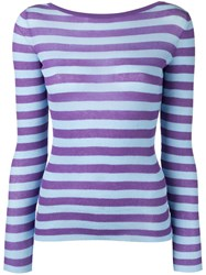 Ermanno Scervino Striped V Neck Jumper Pink Purple
