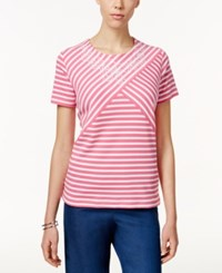 Alfred Dunner Short Sleeve Striped Top Flamingo