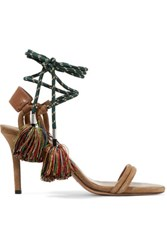 Isabel Marant Aura Lace Up Leather Trimmed Suede And Cord Sandals Camel