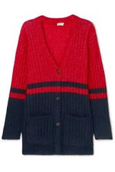 By Malene Birger Two Tone Ribbed Knit Cardigan Navy