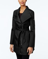 Calvin Klein Asymmetrical Belted Trench Coat Black