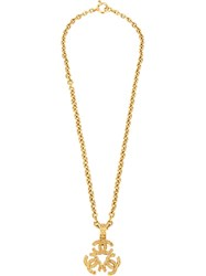 Chanel Vintage Cc Logo Triple Charm Pendant Necklace Metallic