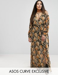 Asos Curve Cold Shoulder Long Sleeve Maxi Dress In Floral Print With Metallic Thread Multi