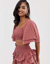 The Jetset Diaries Sunday Shirred Crop Top Pink