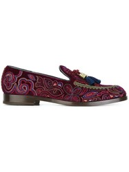Fratelli Rossetti Embroidered Loafers Pink Purple