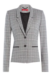 Hugo Wool Blend Checked Blazer Multicolor