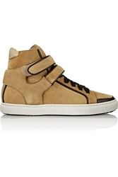 Maje Leather Trimmed Suede Sneakers Brown