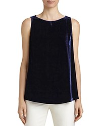 Lafayette 148 New York Toni Velvet Front Blouse Galaxy Blue