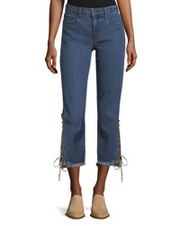 Parker Smith Lace Up Cuff Straight Leg Jeans South Beach