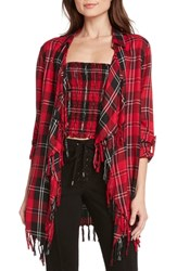 Willow And Clay Plaid Fringe Top Red