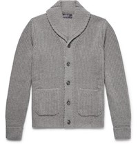 Ralph Lauren Purple Label Shawl Collar Ribbed Cashmere Cardigan Light Gray
